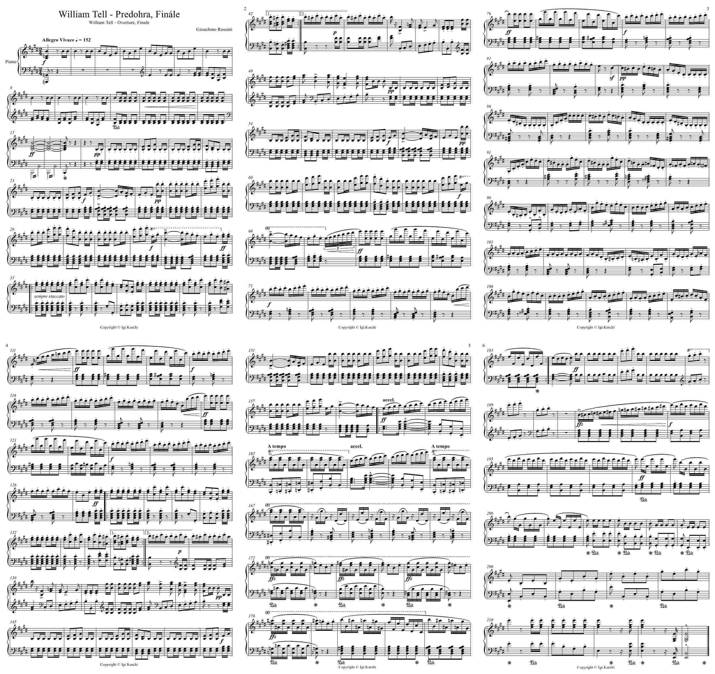 Nothing Else Matters Piano Sheet Music Free Download: William Tell Predohra, William Tell Overture Finale, Opera